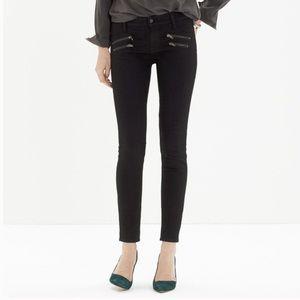 Madewell black skinny skinny jeans |zipper pockets
